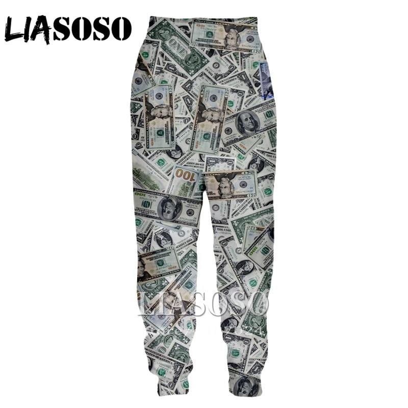 LIASOSO 3d Print Men Women Cartoon Money Gold Harajuku Top Full Length Sweatpants Winter Pants Anime Casual Funny Trousers E234