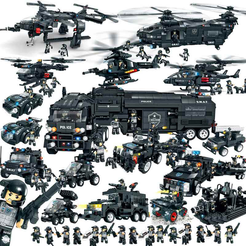 Military Series Police Building Blocks Kids Assembling Urban Weapons Aircraft Car Boat D ...