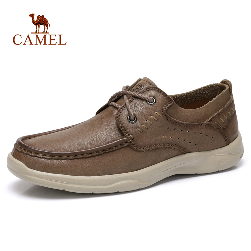 CAMEL Genuine Leather Men's Shoes New Fashion Laces Soft Cowhide Lightweight Comfortable Casual Men Business Shoes