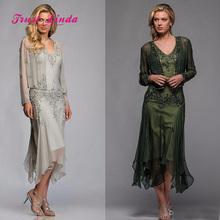 Bruidsjurken Voor Moeder Mother Of Bride Wedding Party Dress Beaded Chiffon Tea Length Mother Of The
