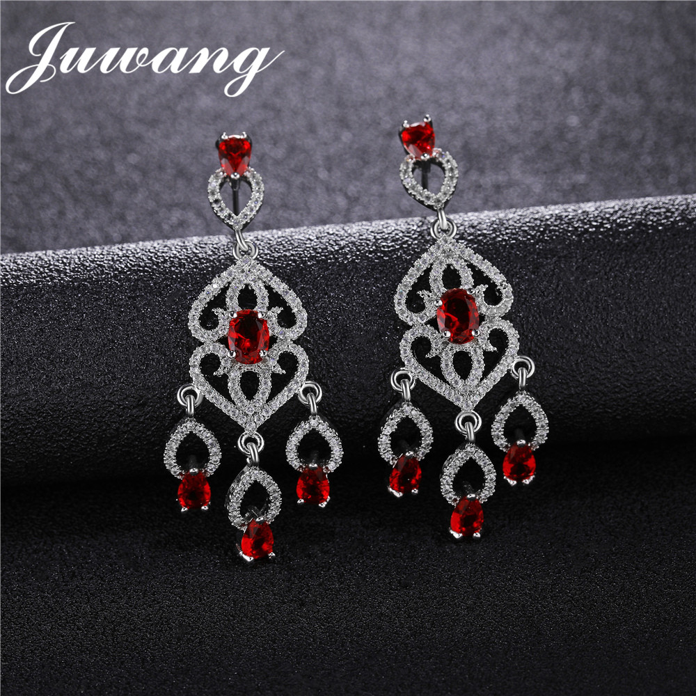 JUWANG Luxury Bridal Red Waterdrop AAA CZ Dangle Earring for Women Vintage Wedding Fashion Jewelry 3 Colors