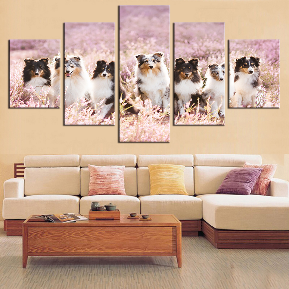 Modular Pictures HD Printed Canvas Painting Framework Living Room Wall Art 5 Panels Cute Animal Landscape Decorative Pictures in Painting Calligraphy from Home Garden