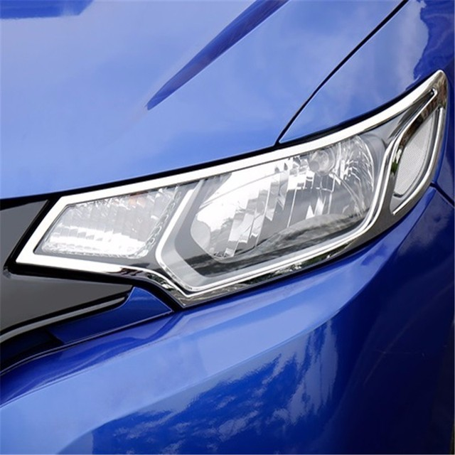 Front Headlamp exterior Excent modified chromium mouldings car styling accessory modification bright sequins 14 FOR Honda fit
