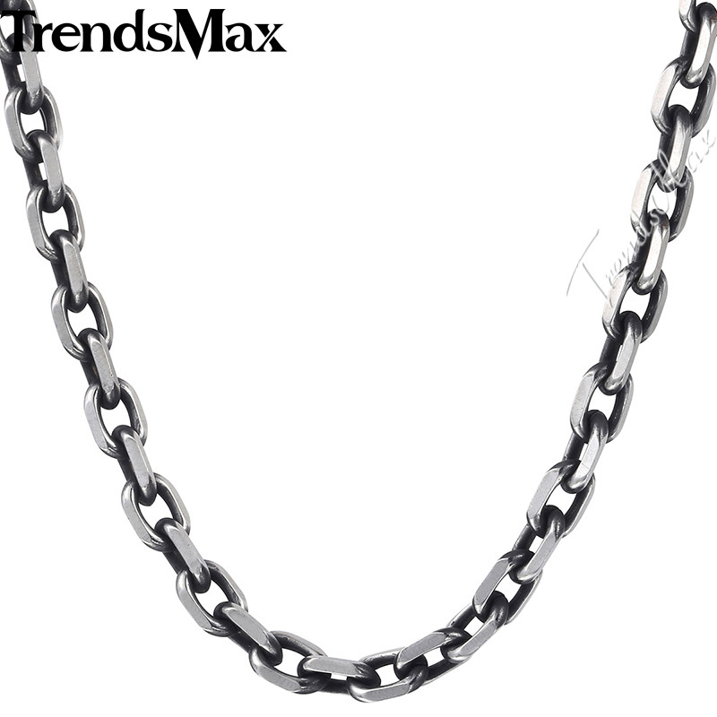 Men/'s Stainless Steel 9mm Two-Tone Oval Link Necklace