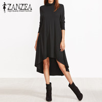 2018 ZANZEA Elegant Women Asymmetrical Hem Shirt Dress Autumn Turtleneck Long Sleeve Party Solid Loose Casual