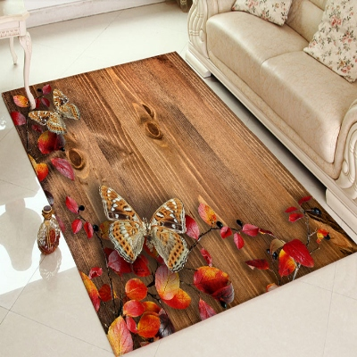 Else Wood Autumn Red Flowers Butterfly Floral 3d Print Non Slip Microfiber Living Room Decorative Modern Washable Area Rug Mat