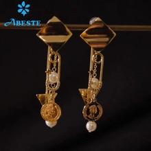 лучшая цена ANI 14K Roll Gold Handmade Women Drop Earring Natural Freshwater White Pearl Long Gold Earring Dangle brincos para as mulheres