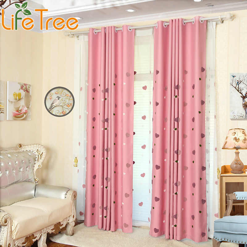 Pink Curtains For Baby Girl Nursery Bedroom Heart Embroidery Kids