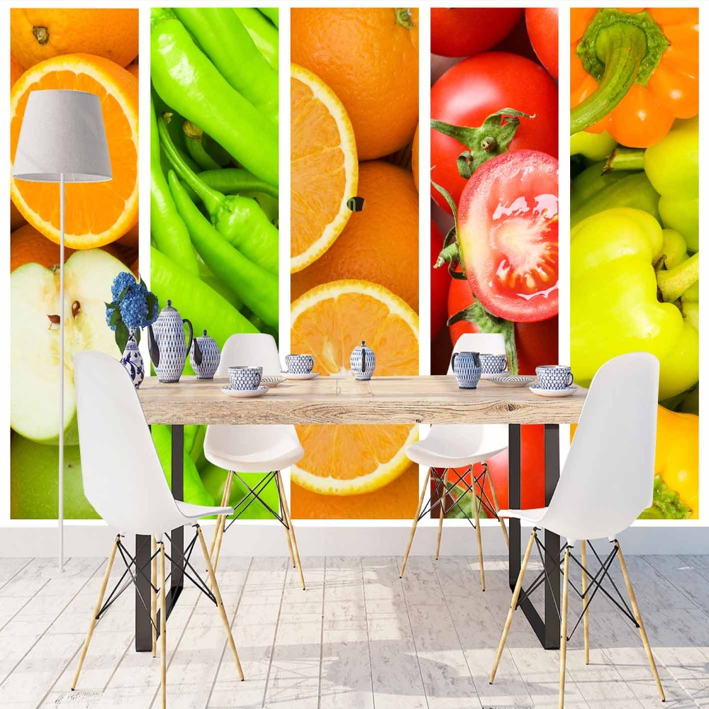 Else Green Peppers Red Tomato Vegetable Fruits 3d Print Photo Cleanable Fabric Mural Home Decor Kitchen Background Wallpaper