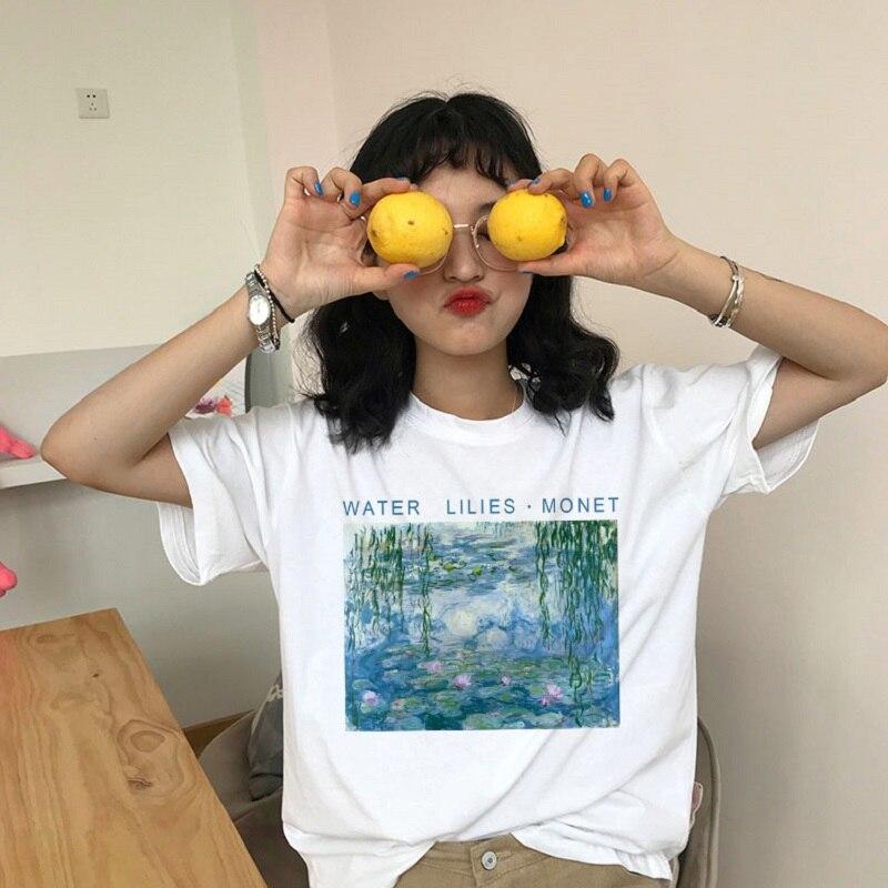 100% Wahr Wasser Lilien Monet Druck Frauen Sommer Mode Neue Mode Große Größe Brief Cartoon Ölgemälde Harajuku Oansatz T-shirt Durchblutung GläTten Und Schmerzen Stoppen