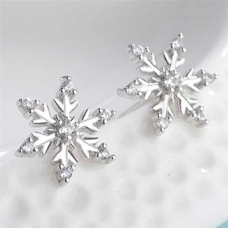 ใหม่คริสตัลแฟชั่นต่างหูใหม่ต่างหูน่ารักเกล็ดหิมะต่างหูผู้หญิงเครื่องประดับคริสต์มาสของขวัญ