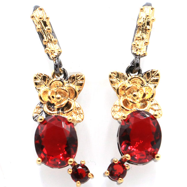 Sublime Antique Vintage Flower Red Blood Ruby Girls Black Gold Silver Earrings 40x11mm