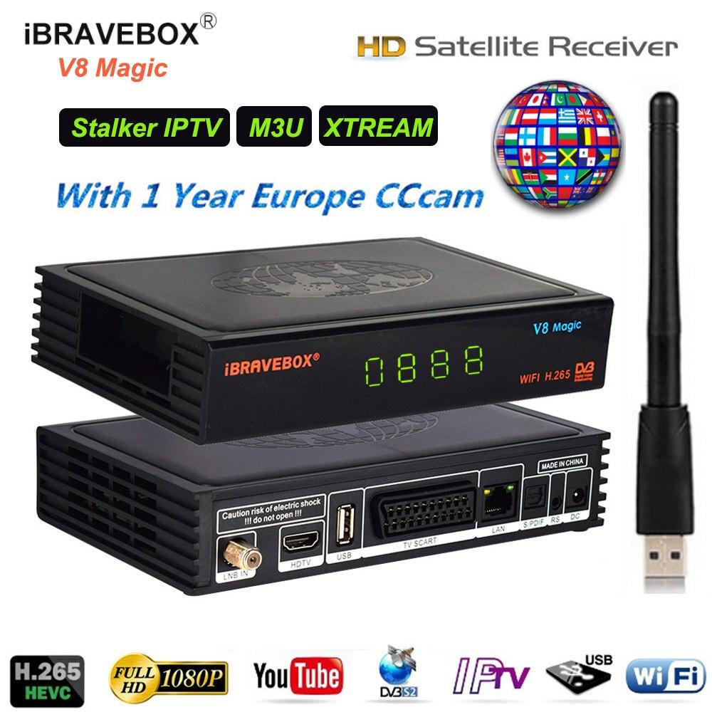 Décodeur Satellite DVB S2 wifi 1080 P décodeur HD DVB-S/S2 M3U Xtream Stalker boîtier IPTV PowerVu Biss récepteur de clé DRE Sat