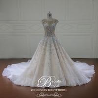 Vestido De Noiva Illusion Wedding Dresses 2018 Cap Sleeve Appliques A Line Lace Bridal Gown Royal Train Plus Size Dresses