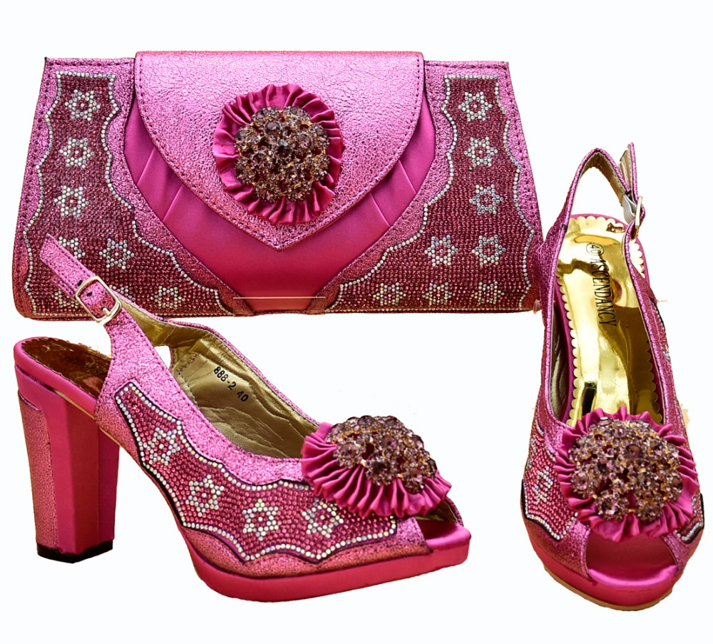 4320d3eb3c4 Lovely fushia hot pink matching set women shoes and bag for african aso ebi  shoe and