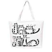 Women Canvas casual Handbag cartoon Cat Printed Shoulder bag Female Large Capacity Women Canvas Tote Shopping Handbags(China)
