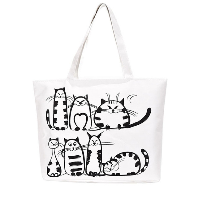 d1941fbb2e5452 Women Canvas casual Handbag cartoon Cat Printed Shoulder bag Female Large Capacity  Women Canvas Tote Shopping Handbags