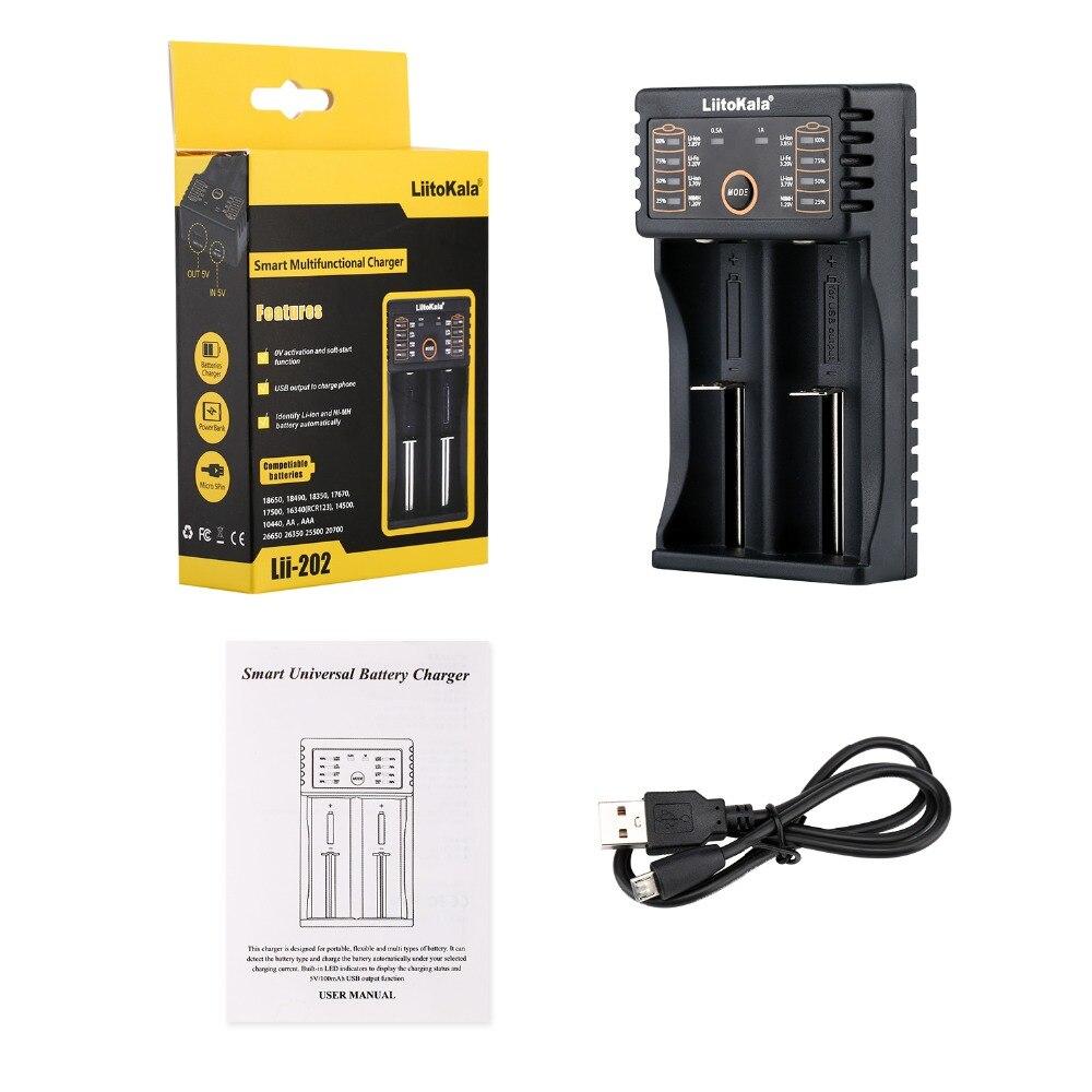 LiitoKala Lii-100 lii-202 lii-402 18650 Battery Charger 26650 16340 RCR123 14500  LiFePO4 1.2V Ni-MH Ni-Cd Rechareable Battery