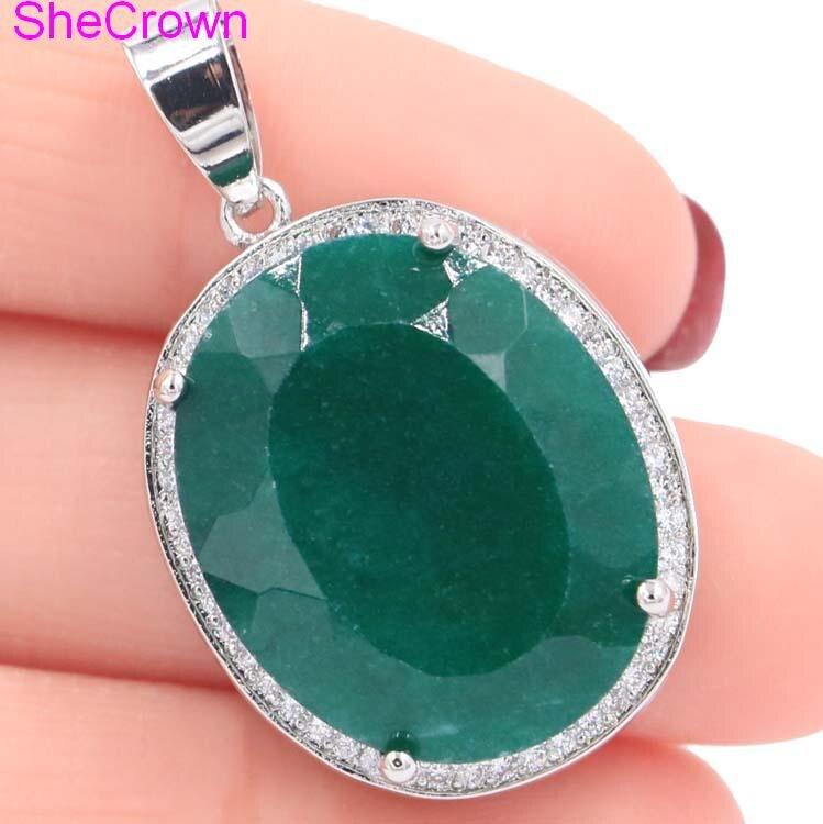Grand bijou 22x18mm ovale vrai vert émeraude blanc CZ femme fiançailles argent pendentif 25x20mm