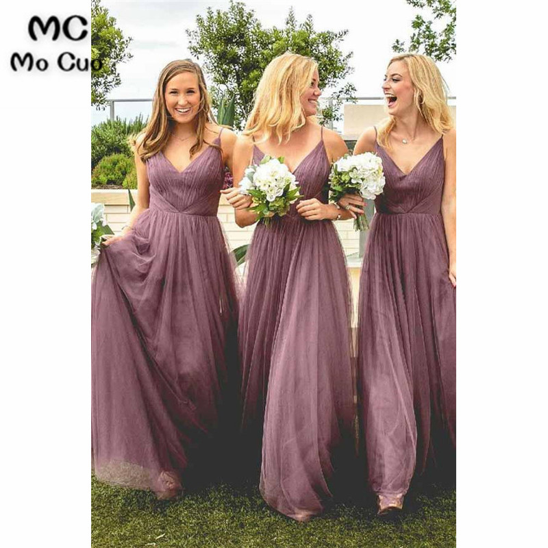 2019 In Stock Wedding Party   Dress     Bridesmaid     Dresses   Spaghetti Straps Floor Length Pleat Tulle Formal Women   Bridesmaid     Dress