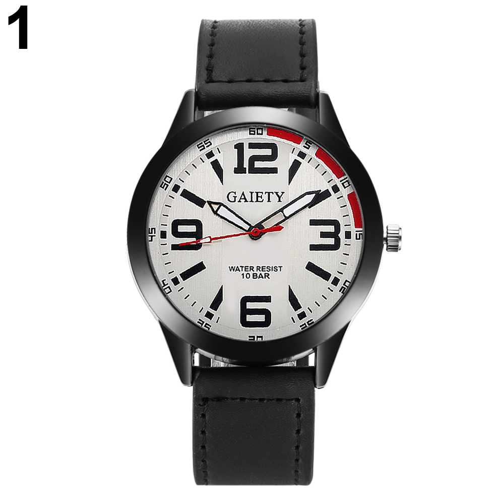 Men Fshion Adjustable Faux Leather Strap Arabic Numerals Quartz Wrist Watch ...