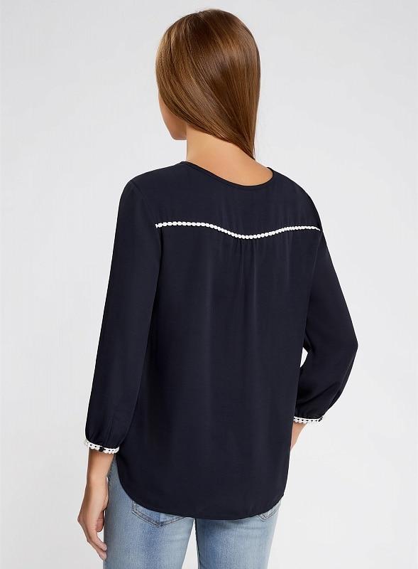 Oodji 2017 блузка прямая с декоративной отделкой на груди бесплатная доставка по россии 11411147/36215 170 cm