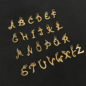 Image 2 - 26pcs/lot From A to Z Grace Moments Initials Alphabets Pendants Stainless Steel Gold Letter Whole 26 Letters Charm DIY Jewelry