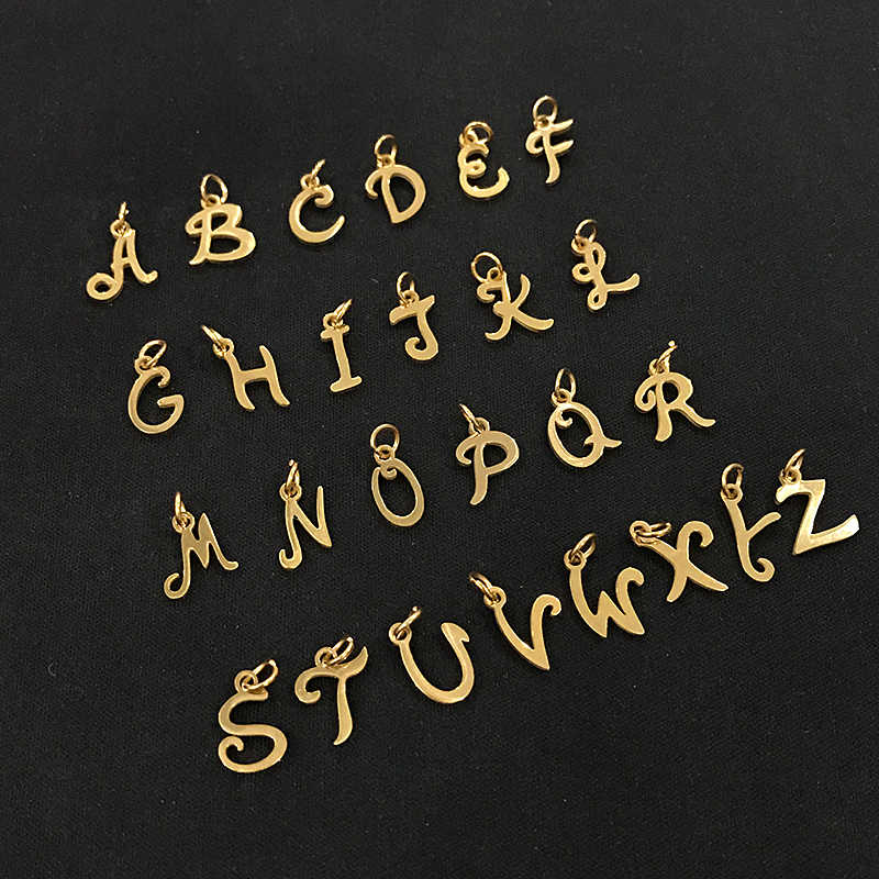 26pcs/lot From A to Z Grace Moments Initials Alphabets Pendants Stainless Steel Gold Letter Whole 26 Letters Charm DIY Jewelry