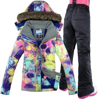 GSOU neige marque femmes veste de Ski pantalon Snowboard costume coupe-vent imperméable thermique sports de plein air porter des vêtements de Ski Snowboard - 6