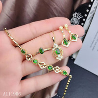 KJJEAXCMY Fine Jewelry 925 sterling silver inlaid natural diopside gemstone female pendant necklace ring bracelet earrings set s