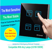 4 Gangs 1 Way Black DIY Touch Light Wall Switch Customize Words LED 12V Micro Switch