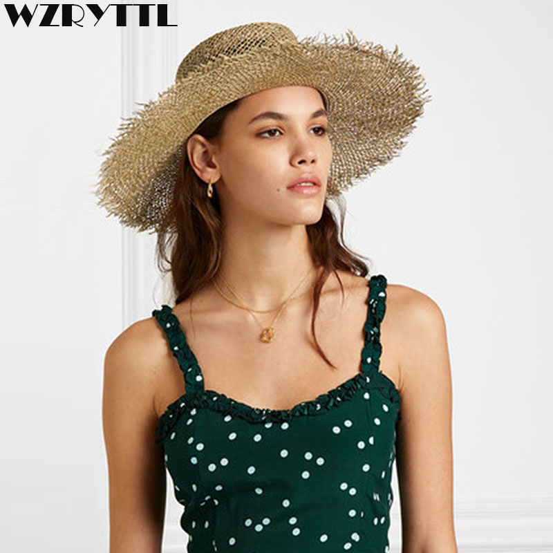 2019 Fashion Fray Boater Hat Wide Brim Sun Hats For Women Natural Woven Seagrass Beach Hat Cool Summer Straw Hats Kentucky Derby