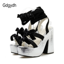 Gladiator Sandals Platform Gothic Shoes Butterfly Ankle-Strap Hoof-Heels Fashion Gdgydh