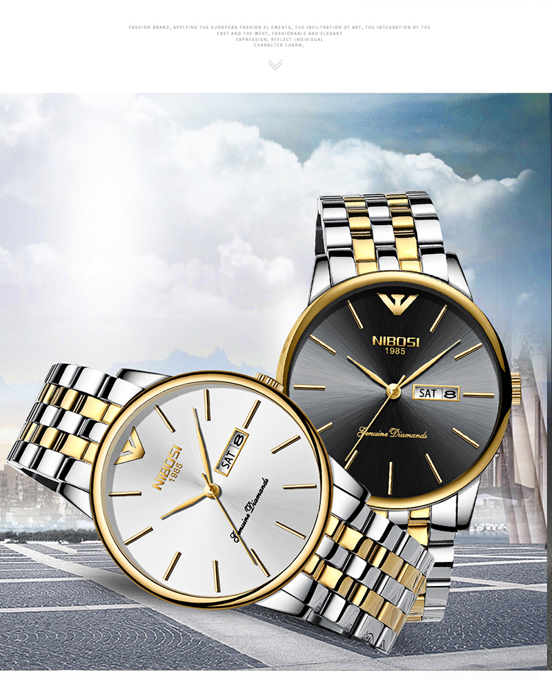 NIBOSI Relogio Masculino Mens Watches Top Brand Luxury Date Week Watch Men Waterproof Black Watch With Gold Montre Homme 2018    (2)
