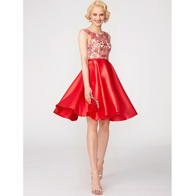 TS Couture A-Line Princess Jewel Neck Lace Satin Cocktail Party Evening Dresses with Pattern Print Pleats Vestido de festa