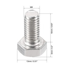 UXCELL 2Pcs Bolts M8 Thread 16/20/30/40mm 304 Stainless Steel Hex Head Left Hand Screw Bolt Fastener For Home Office Appliance