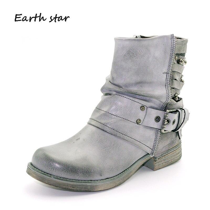 Dame La Étoile De Noir Femmes Bottes gris Rétro Terre Chaussures marron 2018 Marque Automne Martin Cheville Creux Rivets Boucle Femelle Mode trshCQd