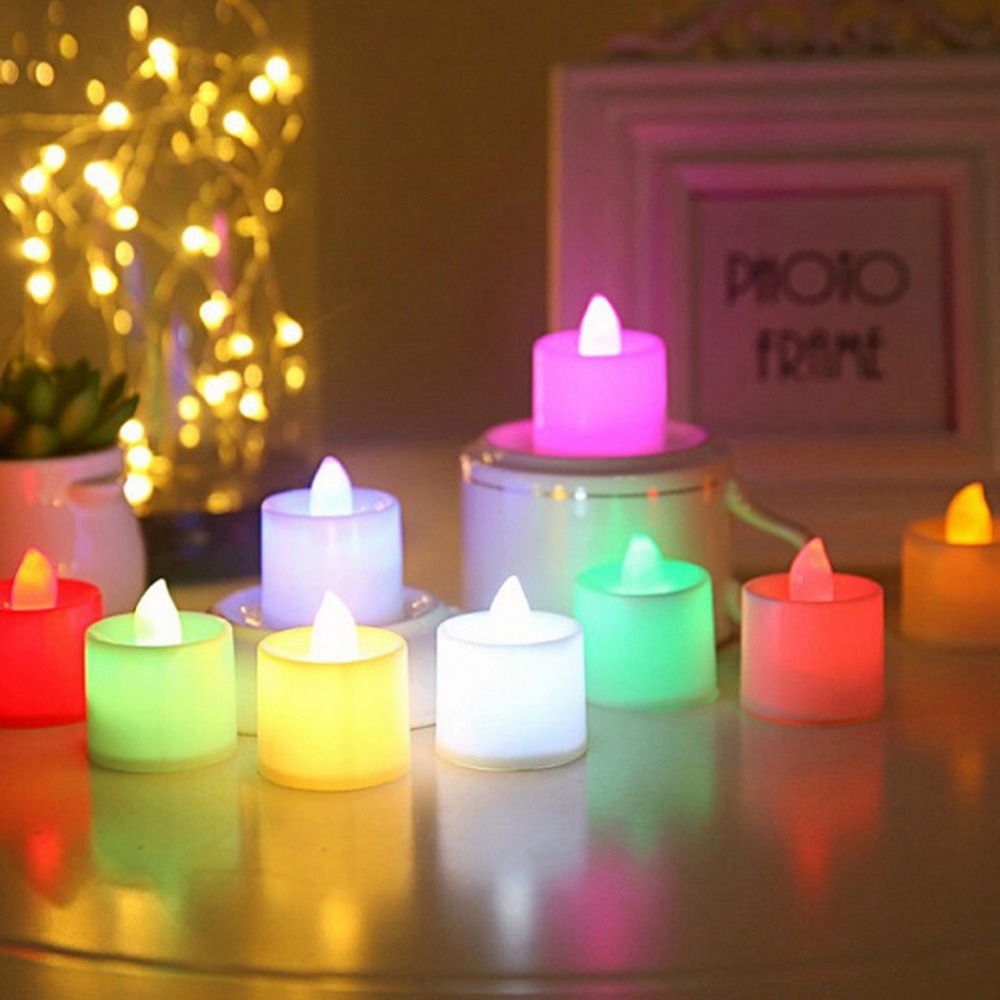 24pcs Battery Led Candle Multicolor Lamp Simulation Color Flame Flashing Tea Light Home Wedding Birthday Party Decoration Refreshment Home Decor