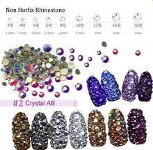 3D AB Strass Nail Stone SS3-SS16 Glass Gem Clear Rhinestones,1440Pcs,Flat-Back Non Hotfix Crystal Rhinestone ,