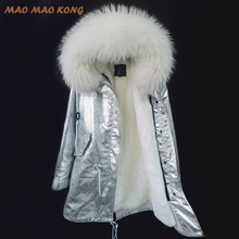 2017new fashion jacket silver coat women parka hooded big real raccoon collar natural silver fur coat amazing quality hot sell