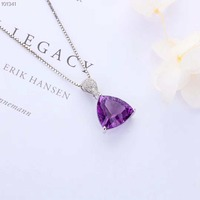 Medboo Silver 925 Natural Amethyst Pendant for Women's Fine Jewelry Engagement Party Purple Stone Geometric Pendant Luxury