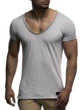 PADEGAO deep V neck t shirt men short sleeve slim fits Tee fitness tops skinny cotton tee shirts summer t shirt camisetas hombre