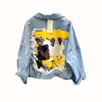 NiceMix Women Denim Jacket 2019 Autumn New Fashion Graffiti Print Casual Jeans Jacket Female Loose Casual BF Basic Outerwear Coa