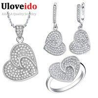 Uloveido Vintage Heart Wedding Jewellery Set Necklace Silver Crystal Bridal Jewelry Sets CZ Zircon Jewelry for Marriage T002
