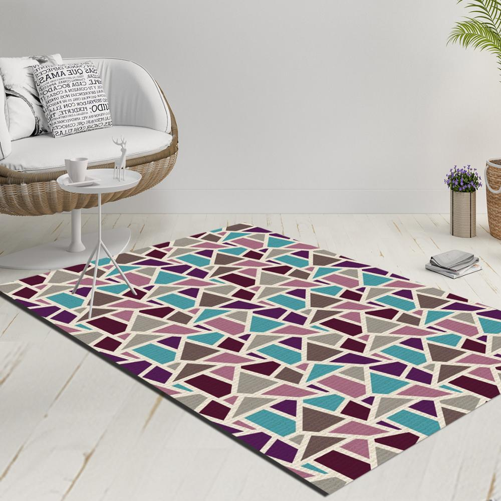 Else Blue Red Gray Geometric Triangles Decorative 3d Print Anti Slip Kilim Washable Decorative Kilim Rug Modern Carpet