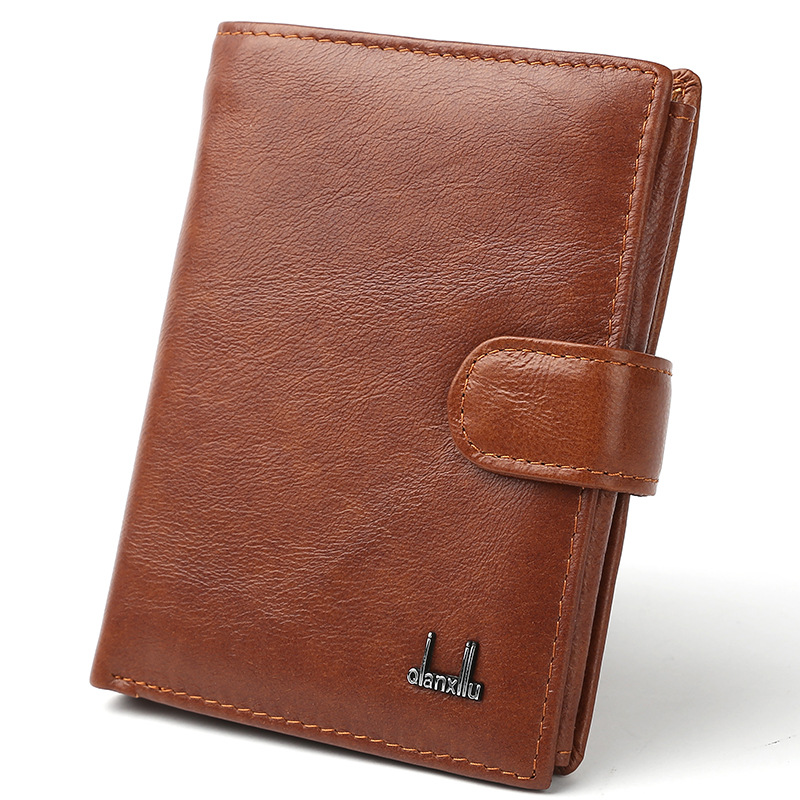 Genuine Leather Mens Wallet Cowhide Cover Coin Purse Large Capacity Travel Wallets Passport Bag Credit Multifunctional Wallets