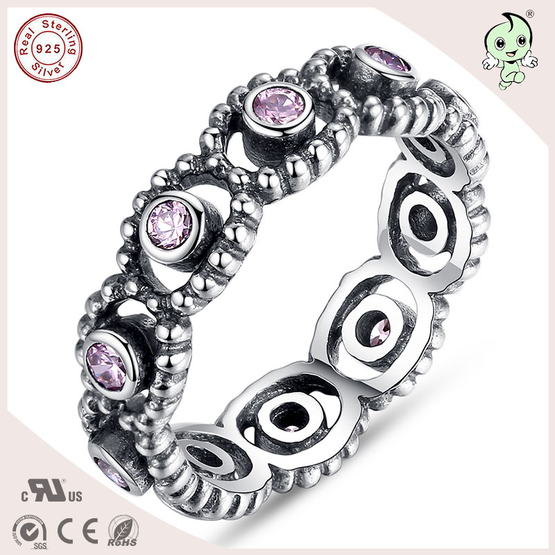 P&R products Famous European Popular S925 European Retro Authentic Silver Hollow Rings Fit Original Jewelry for women