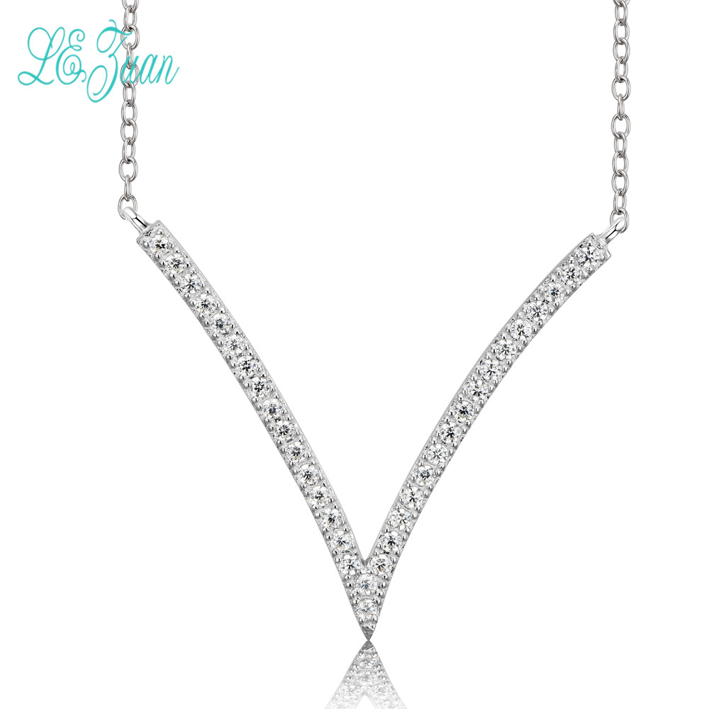 l&zuan Necklace Pendant Women Letter V Shape S925 Sterling Silver Fine Jewelry Cubic Zirconia Wedding Engagement Necklaces