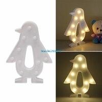 3D Marquee Penguen 10LED Pil Işletilen Gece Işık Sıcak-Beyaz Ile Lamba MY3_30