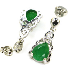 SheCrown Drop Shape Real Green Emerald White CZ Gift For Girls Silver Earrings 24x10mm